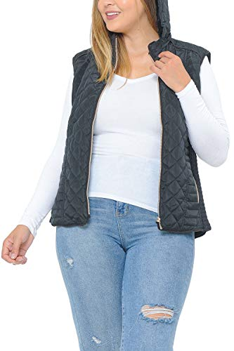 Best Summer Essential Black Fur Lined Plus Size Quilted Vest for Women Big Girls Ladies Hooded Padded Zip Up Sleeveless Water Resistant Warm Full Large Jeans Dress Coat Jacket (Black 2XL)