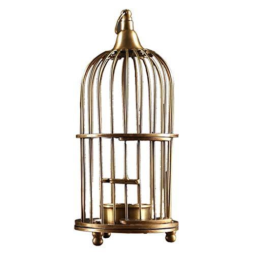 ZJDK Candelabro Prop Jaula de pájaros Modelado Candelabro Arte Creativo Candelabro de Cobre Puro Centro de Mesa Retro para Sala de Estar Candelero (Tamaño: L)