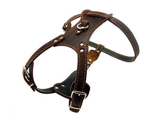 OCSOSO - Arnés de seguridad para perro de piel auténtica, color marrón y duradero, chapado en latón para perros medianos o grandes, pecho de 83,5 a 35' con gancho para correa de perro