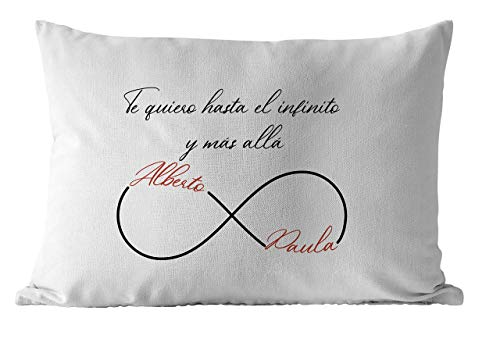 Cojín personalizado enamorados, Te quiero hasta el infinito y más allá, 50x30cm incluye relleno ideal regalo original San Valentín parejas