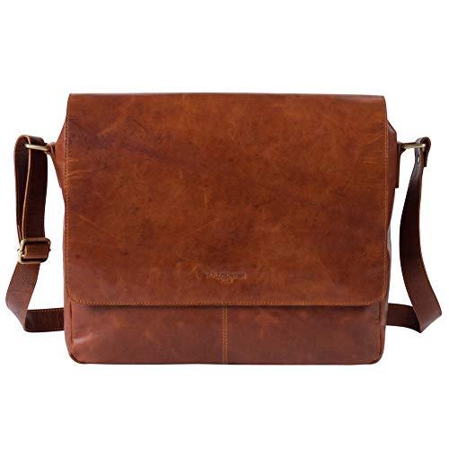 HOLZRICHTER Berlin Premium Vintage Umhängetasche (M) aus Leder - Handgefertigte Messenger Bag - Herren & Damen - Cognac-Braun