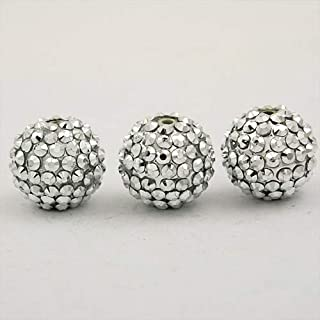 Calvas Chunky Resin Rhinestone Beads Bling Ball Beads 20mm 20pcs for DIY Kid Necklace Earring Jewelry findings Crafts Round Shape - (Color: Silver)