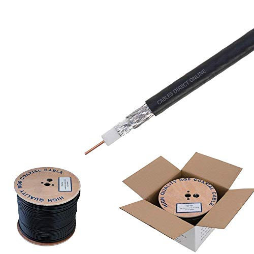 RG6 500ft Dual Shield Coaxial Cable, 18 AWG Copper Clad Steel Conductor, Foam PE Core, 60% aluminum braid, PVC Jacket, Reel in Box (500FT, Black)