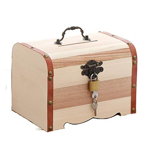 KKAAMYND 4 tamaños New Vintage joyas perlas collar pulsera madera cofre del tesoro maleta lindos hucha hucha se puede cerrar, caja de almacenamiento marrón con candado S objetos aplicables: D