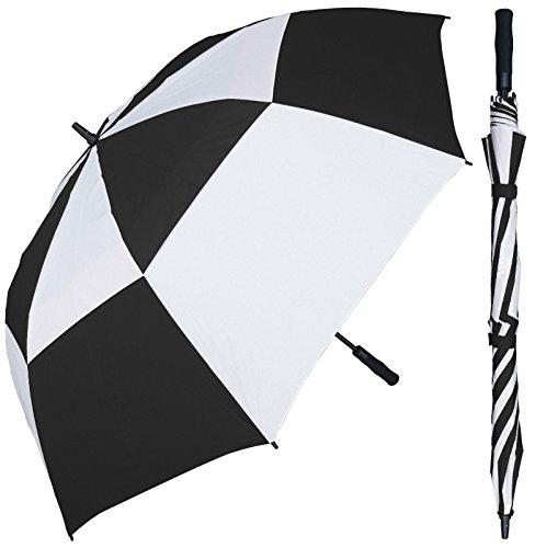 68 inch Large Black & White Alternating Golf Umbrella - Auto Open Button - Fiberglass Shaft and Frame - Vented Windproof Stick Umbrellas