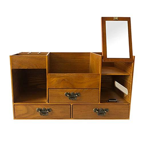 LM grote capaciteit houten cosmetische opbergdoos, klassieke stijl dressoir bureaublad huidverzorgingsrek, ingebouwde HD zilveren spiegel, 11 aparte compartimenten en 3 laden