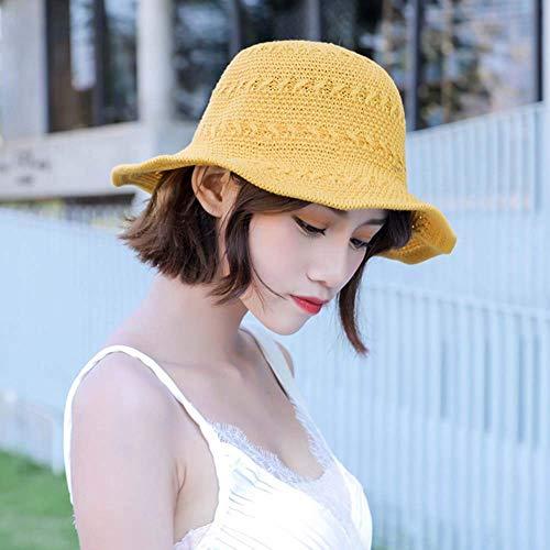Zhongyanxin Koreanisch Damen Version von Joker Faltbar Sonnenblende Strand Hut Fischer Hut Groß Krempe Sonnenhut Sommer Sonnenschutz Strohhut - Gelb