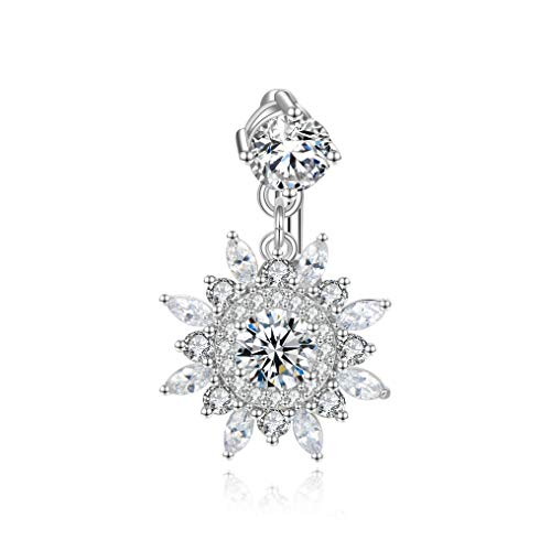 Candyfancy 14G Reverse Belly Button Rings Surgical Steel Dangle Snowflake Gem Navel Rings Belly Piercings Jewelry