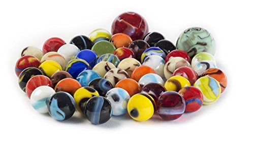 Glass Marbles Bulk, Set OF 50, Assorted Colors, Styles, and Finishes