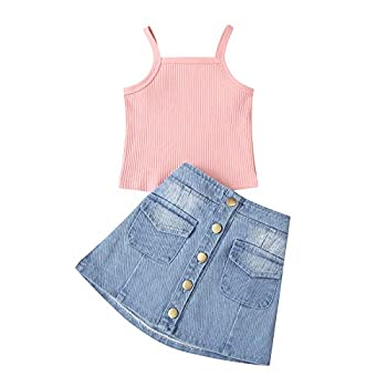 Kid Toddler Baby Girl Denim Skirt Set Knit Halter Strap Sleeveless Tank Top A Line Button Mini Jeans Skirt Outfits  A-Pink 4-5T