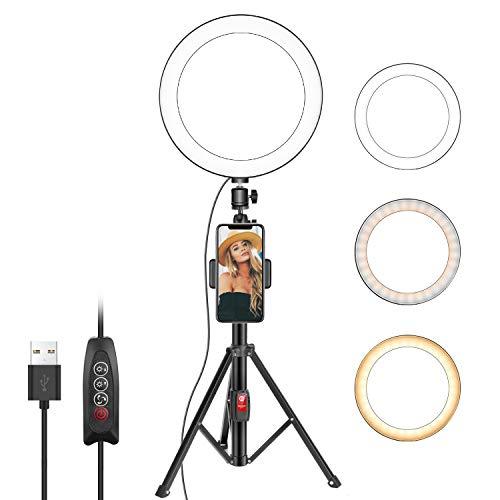 Neewer Selfie Luz de Anillo 26cm con Soporte Trípode y Soporte para Teléfono Movil para Live Corriente/Maquillaje Mini Led Luz de Anillo Compatible con iPhone XS MAX XR Android