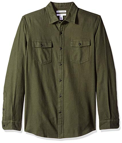 Amazon Essentials Men's Slim-Fit Long-Sleeve Two-Pocket Flannel Shirt, Olive Heather, Large