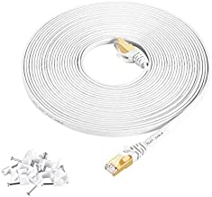 Cat7 Ethernet Cable 30 ft White Shielded (STP), AULLOV High Speed Flat RJ45 Cat-7/Category 7 Internet LAN Computer Patch Cord Cable, Faster Than Cat5/Cat6-30 Feet White (9 Meters)