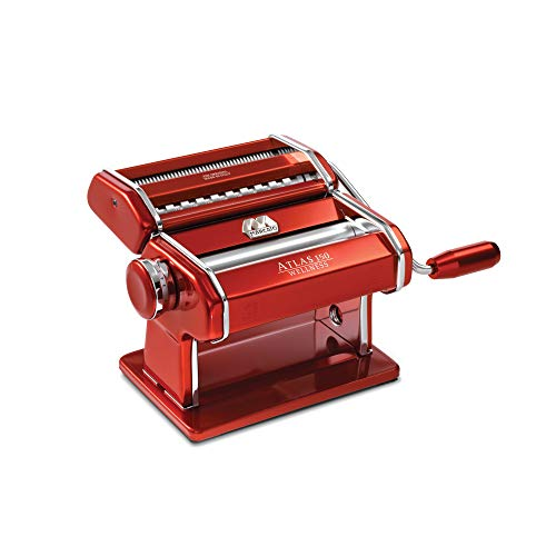 Marcato 8334 Atlas 150 Machine, Made in Italy, Red, Includes Pasta Cutter, Hand Crank, and...