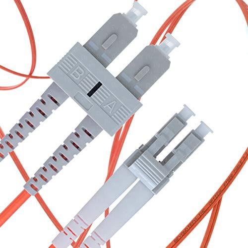 Cable de Fibra Óptica LC a SC 10M Multimodo Duplex - UPC/UPC - 50/125um OM2 (LSZH) - Latiguillo Doble Fibra Óptica - Beyondtech PureOptics Cable Series