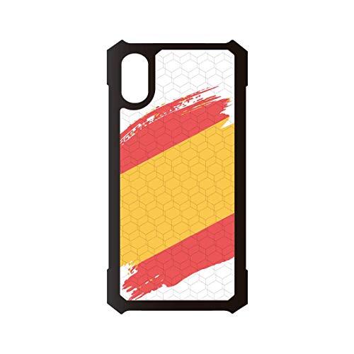 PHONECASES3D Funda móvil Compatible con iPhone X Kevlar España Bandera. Carcasa de TPUde Alta protección. Funda Antideslizante, Anti choques y caídas.