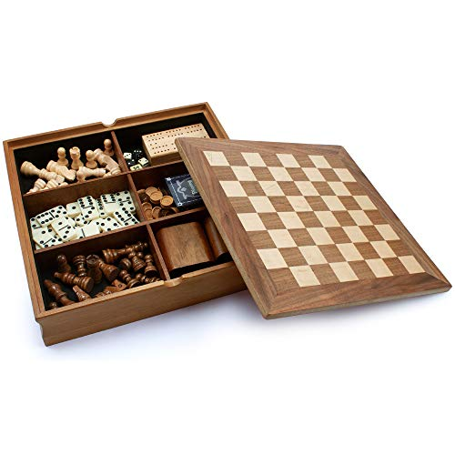 Wooden 7-in-1 Chess, Checkers, Backgammon, Dominoes, Cribbage Board, Playing Card and Poker Dice Game Combo Set