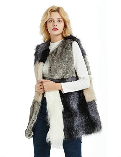Bellivera Women Faux Fur Multicolored Vest with 2 Side Seam Pockets Hook Fasteners 803 L product image