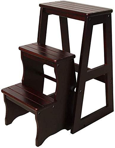 QTQZDD trapladder massief hout klapstoel 3 treden trapstoel draagbare huishoudladder licht tuingereedschap Max belasting 150 kg (3 kleuren) 3 3