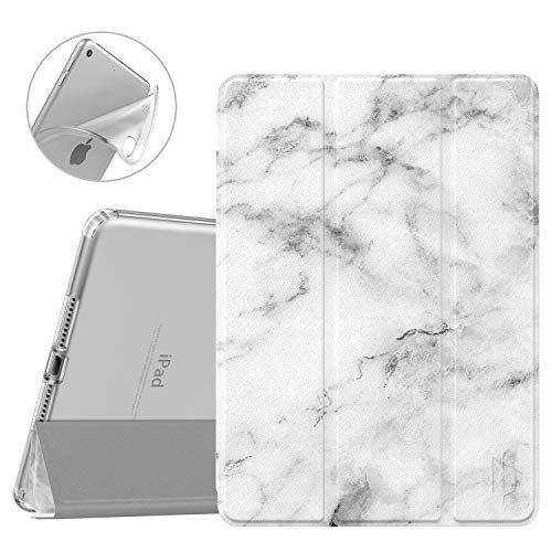 Dadanism iPad 9.7 2018 Case 6th Generation/iPad 9.7 2017 Case 5th Generation, [Flexible TPU Translucent Soft Back] Ultra Slim Lightweight Trifold Stand Smart Cover with Auto Sleep/Wake, White Marble