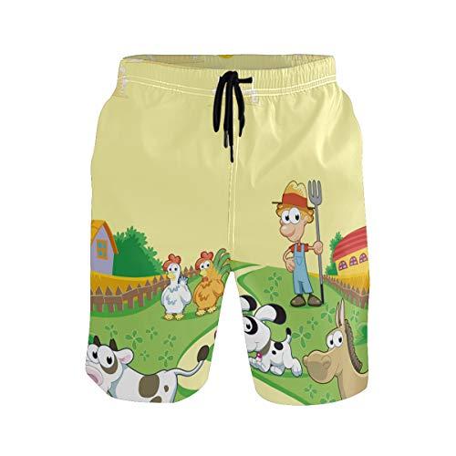 Bañador para hombre con diseño de animales de granja de dibujos animados de vaca y gallo, de secado rápido, con cordón y bolsillos Multicolor multicolor Large