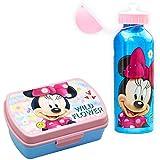 SKYLINE, Set Sandwichera y Cantimplora, Minnie Mouse, para Almuerzo Infantil, Botella de Aluminio con Fiambrera de plástico para Niños, Vuelta al Cole 2 Pcs