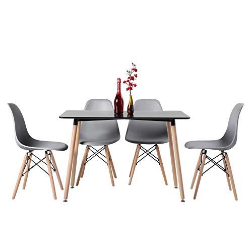 H.J WeDoo Esszimmergruppe Moderner Rechteckig Esstisch mit 4 Grau Stühlen Geeignet für Esszimmer Küche Wohnzimmer