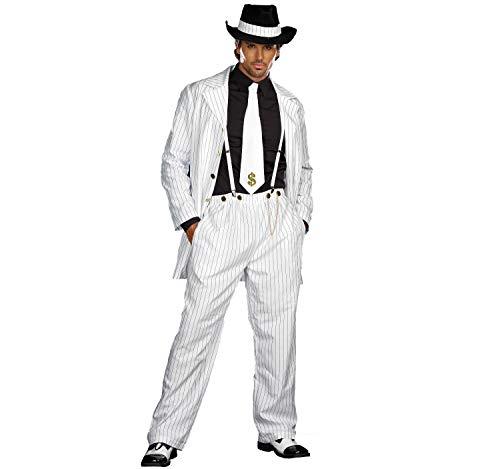 Dreamgirl Herren Kostüm Gangster Mafia Boss Raul Nadelstreifen Anzug weiß Fasching m, L, XL, XXL (M)