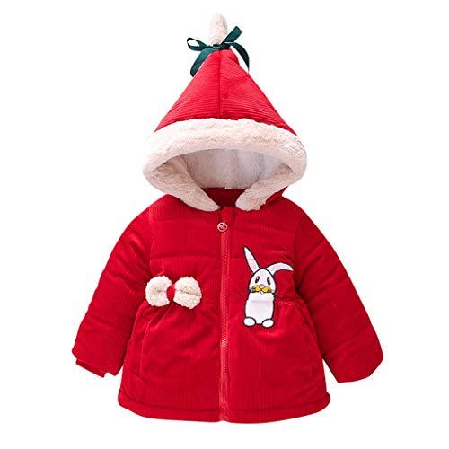 Kinder Baby Jungen Mädchen Wintermantel Jacke Dicker Schneeanzug Hoodie Samt Kleidung Baby Fell Mantel Daunen Jacke Hoodie für Mädchen Gr. 6-12 Monate, rot