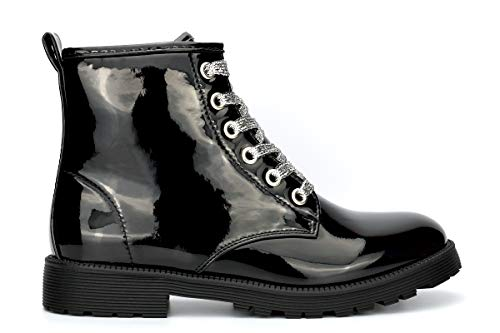 Little Diva Girls Military Boots With Silver Glitter Laces Patent Black 2...