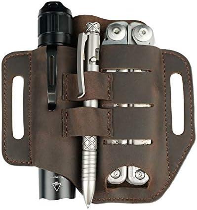VIPERADE PJ13 EDC Leather Sheath Knife Belt Sheath Leather Flashlight Holster for Leatherman product image