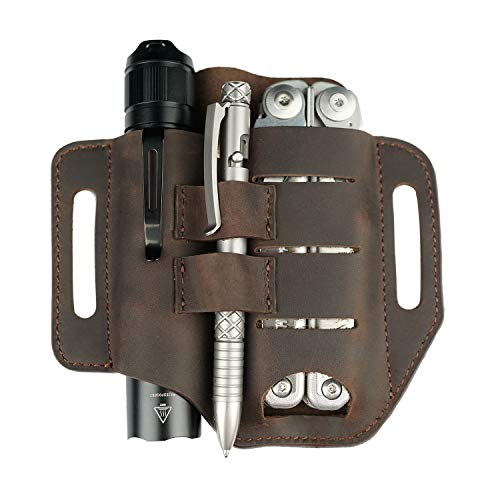 VIPERADE PJ13 EDC Leather Sheath, Knife Belt Sheath/Leather Flashlight Holster/for Leatherman Multitools Sheath, Handmade 3 Pockets Organizer Sheath for Knives/Flashlights/Tactical pens/Tools (Brown)