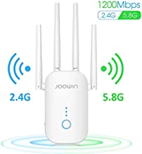 WiFi Extender, JOOWIN AC1200 WiFi Range Extender Up to 1200mbps 2.4 & 5.8GHz Dual Band Wireless Signal Booster WiFi Repeater with External Antennas Extends Internet WiFi to Smart Home & Alexa Devices