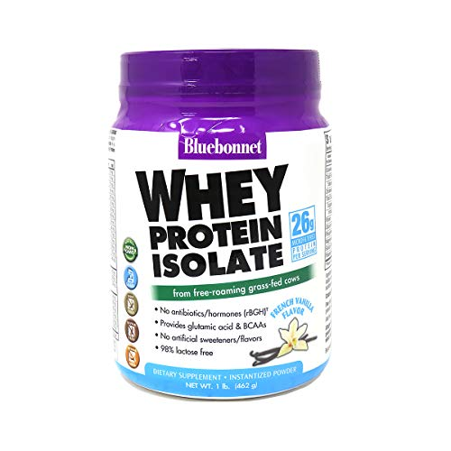 Bluebonnet Nutrition Whey Protein Isolate Powder Free-Roaming Grass-Fed Cows with BCAAs & Glutamic Acid Supports Muscle Growth & Immune Health, Non-GMO, Gluten-Free, Vanilla Flavor, 462g (14 Servings)