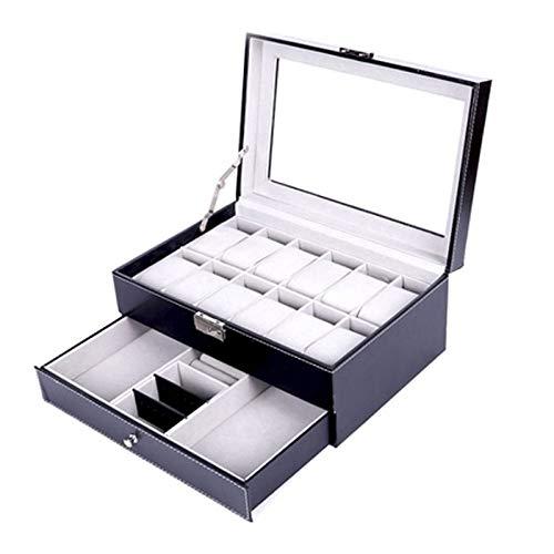 YWAWJ Herrenuhrkasten Geeignet von den Uhren, Armbändern und Manschetten-Glas-Abdeckungsfenster mit Schloss und Metallscharnier auf Kohlefaserschale, Lagerung und Anzeige