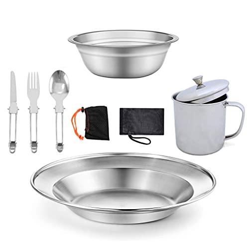 JEZZ 9Pcs / Set Utensilios De Cocina para Acampar, Senderismo, Utensilios De Cocina, Ligero, Plegable, Picnic, Campamento De Cocina