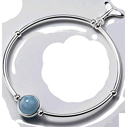 THTHT S 925 sterling zilveren armband mode vrouwen eenvoudige aquamarijn Mermaid Retro Temperament sieraden creatief schattig lief persoonlijkheid verjaardagscadeau