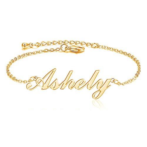 MissChic Namensarmband, S925 Silber/Vergoldet/Rosé vergoldet fußkette, Personalisiertes Armband mit Namen für Frauen Mädchen Schwester Freundin Mutter Tochter