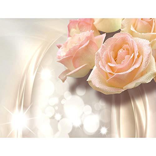 Fototapeten Blumen 3D Rose Beige 352 x 250 cm Vlies Wand Tapete Wohnzimmer Schlafzimmer Büro Flur Dekoration Wandbilder XXL Moderne Wanddeko Flower 100% MADE IN GERMANY - Runa Tapeten 9129011c