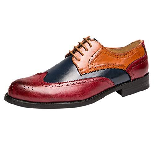 Quaan Herren Business Leder Schuh Komfort-König Derby Sneaker-Gefühl Herren-Lederschuhe in Übergrößen im britischen Stil mit farblich abgestimmten Schnür-Freizeitschuhen