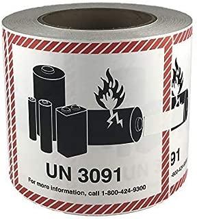 UN 3091 CHEMTREC Caution Lithium Battery Labels 4.5 x 4.75 inches 500 Labels