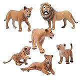 FLORMOON Figure Animali 6pcs Realistico Leoni Modello di Azione Plastica Animale Selvaggio Apprendimento Bomboniere per Feste educativo Foresta Giocattoli agricoli Regalo per Bambini