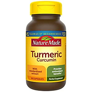 Antioxidant support herbal supplement: contains one 60 count bottle of Nature Made Turmeric Curcumin 500 mg capsules for a 60-day supply These Turmeric capsules provide antioxidant benefits to help neutralize free radicals in the body This Turmeric C...