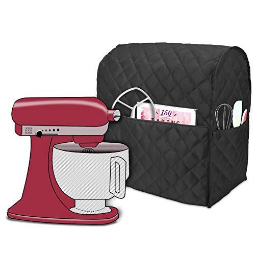 Luxja Abdeckhaube für KitchenAid Küchenmaschine, Anti-Staub Abdeckung für KitchenAid Küchenmaschine und Zubehör (passend für 4,3 Liter und 4,8 Liter KitchenAid Küchenmaschine), Gestepptes Schwarz