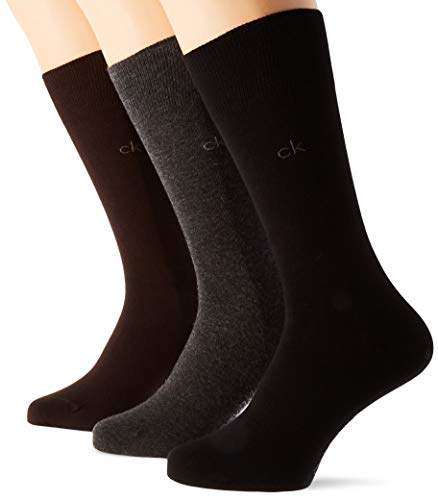 Calvin Klein Socks Herren Socken, 3er Pack, (Schwarz), 40/46 Calcetines, Combo Marrón Oscuro, One Size para Hombre