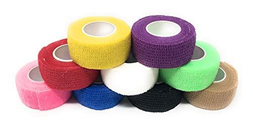 9er-Set Fingerverband | Pflasterverband | Pflaster ohne Kleber - Farbauswahl - 2,5cm x 4,5m - elastisch, wasserabweisend, kohäsiv (Bunter Mix).