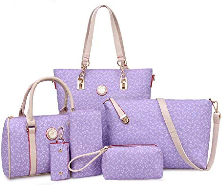 6Pcs Women's Tote Bag Set Arrow Pattern Briefcase Detachable Strap Crossbody Retro Simple Lady Big Bag Handbag Shoulder Messenger Bag Clutch Bag Coin Purse Key Bag (Purple)