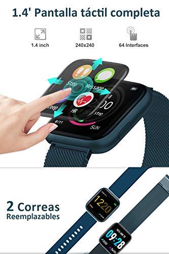 BANLVS Smartwatch, 1.4 Inch Reloj Inteligente IP67 con Pulsómetro Presión Arterial, Monitor de Sueño Podómetro Contador… 5