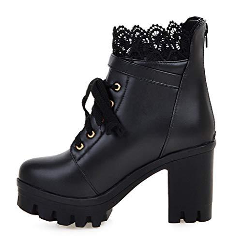 Dtuta Damen Schnür Blockabsatz Stiefeletten Schuhe,Wasserdichtem Plateau-Schnür Stiefeletten mit Hohem Absatz, Stiefelparadies Damen Riemchensandaletten