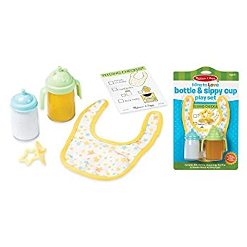 """Melissa & Doug Mine to Love Bottle & Sippy Cup Play Set – """"Disappearing"""" Liquid Bib Pacifier Activity Card"""